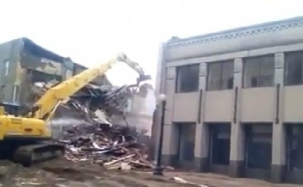 Demolition of the Tanfastic building went ahead in Salem, Ohio Friday._134618