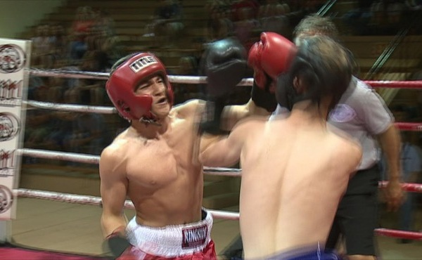 Isaiah Padilla lands a punch Wednesday as the K.O. Drugs boxing tournament kicked off._148106