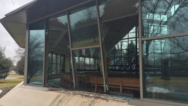 A car backed into the Blessed Sacrament Church Thursday morning in Warren, Ohio.