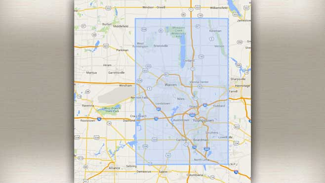 Uber's coverage area in Youngstown Ohio