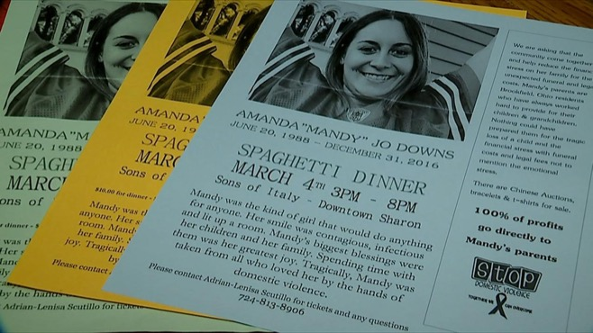 A spaghetti dinner is being held for Amanda Downs, murdered by her boyfriend on Dec. 31, 2016.