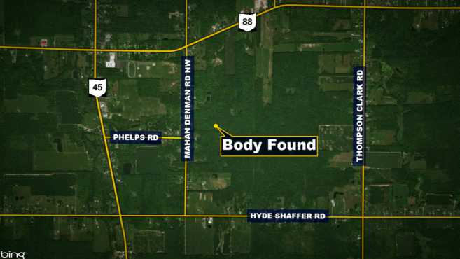 Investigators went out and discovered human remains about 0.5 miles into the woods, just east of Mahan Denman Road.