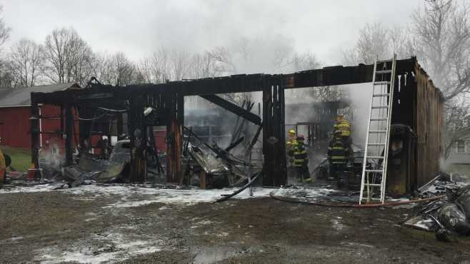 Greene Township garage fire West Jamestown Road