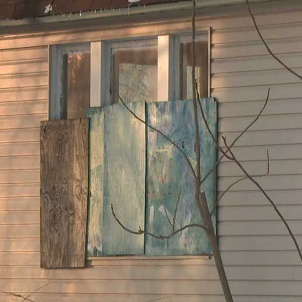 Vacant, abandoned house; Trumbull Neighborhood Partnership blight