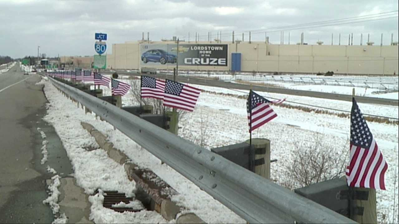 Flags surround GM Lordstown
