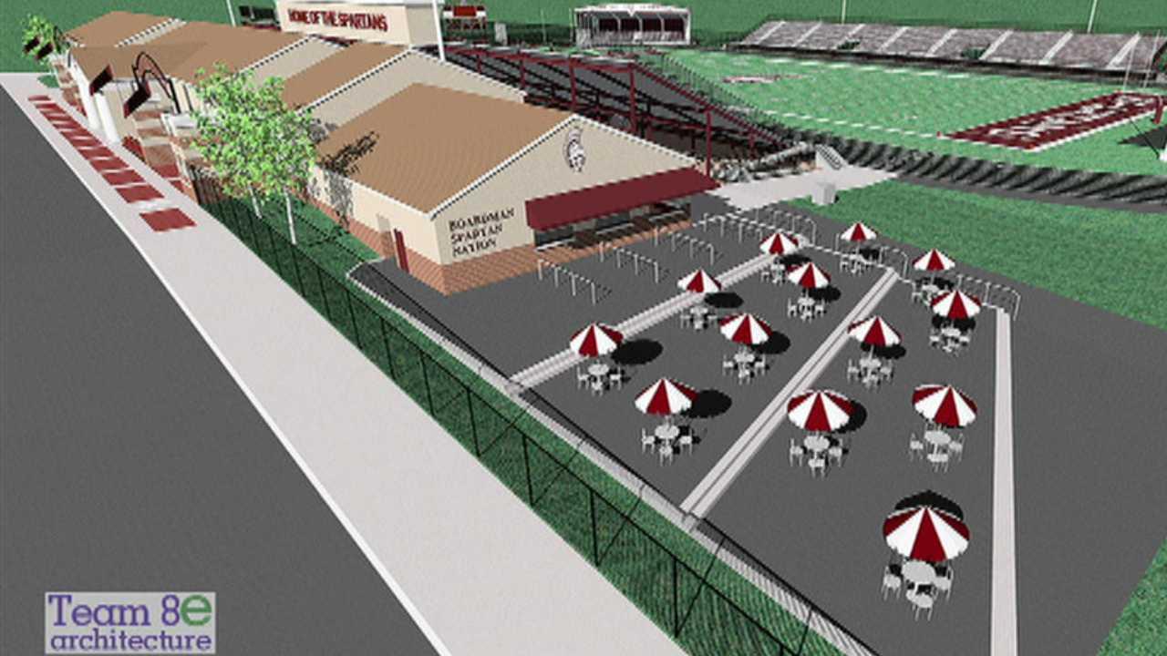 Rendering of Boardman High School stadium concessions building