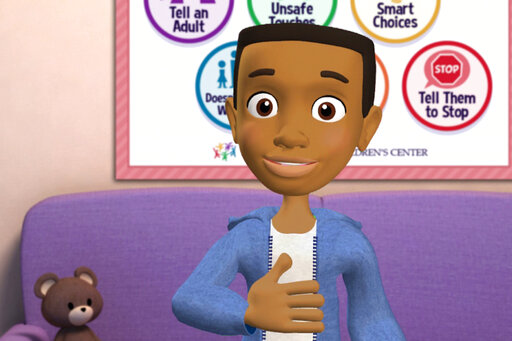 This image from video made available by the Boy Scouts of America in June 2019 shows a frame from an animated video which is part of a sex-abuse prevention program adopted by the Scouts. Targeted at children from kindergarten to sixth grade, the series of six videos aims to teach children how to recognize potentially abusive behavior and what to do if confronted by it. (BSA via AP)