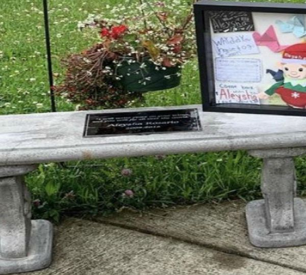 A bench was dedicated to Aleysha Rosario in Youngstown, Ohio