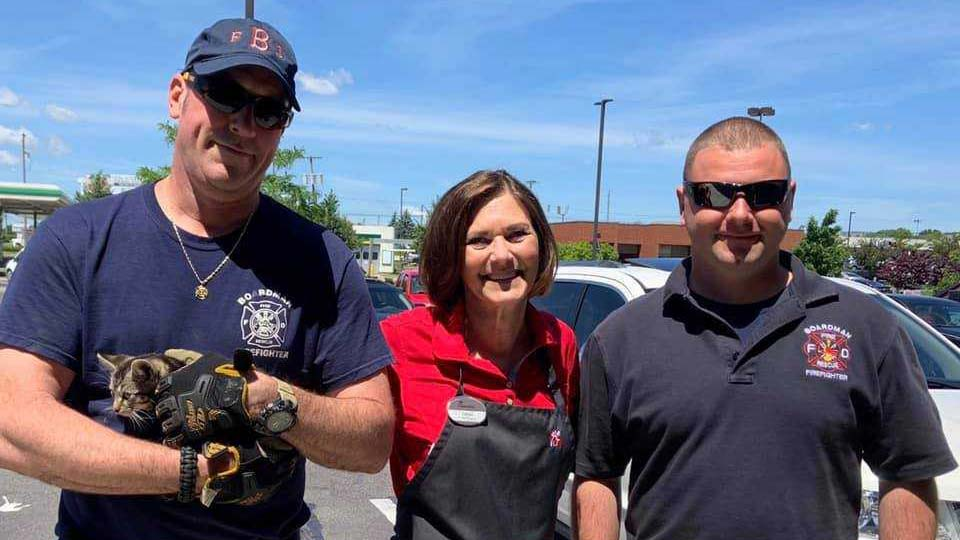 A cat was rescued from a storm drain in Boardman Friday, all thanks to the Boardman Fire Department and a Chik-fil-A employee.