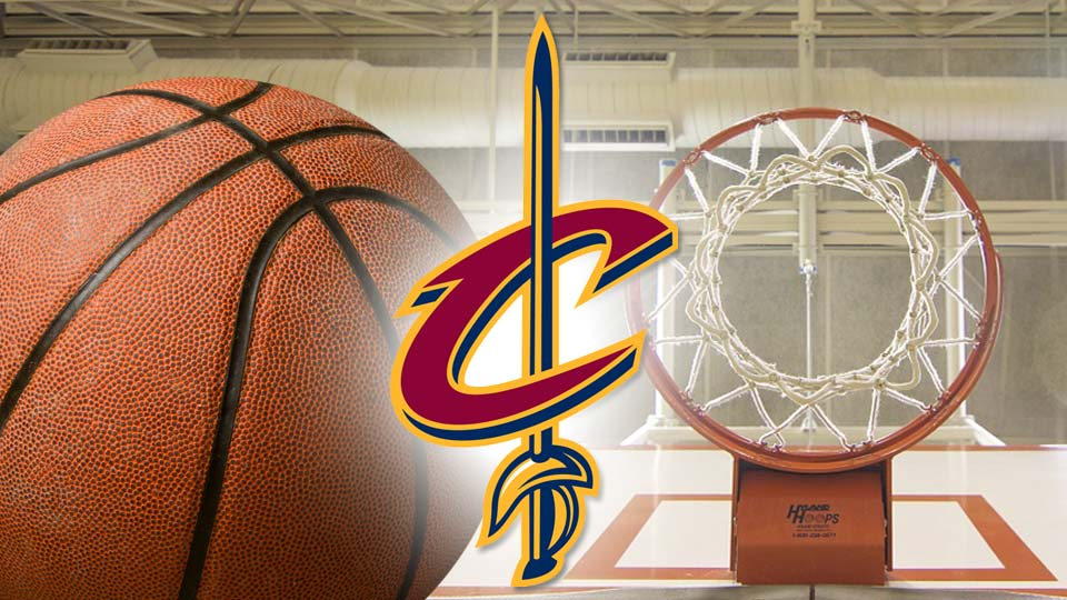 Cleveland Cavaliers logo in front of a basketball and a basketball hoop.
