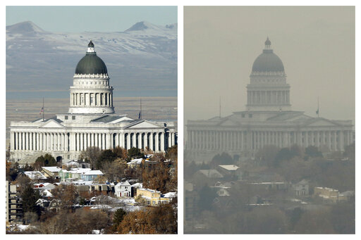 FILE - This combination of Dec. 13 and 17, 2018 photos shows the Utah State Capitol during clear and an inversion day in Salt Lake City. Inversions hover over Salt Lake City as cold, stagnant air settles in the bowl-shaped mountain basins, trapping tailpipe and other emissions that have no way of escaping to create a brown, murky haze the engulfs the metro area. After decades of getting ever cleaner, America's air quality seems to be stagnating. In 2017 and 2018, the nation had more polluted air days than just a few years earlier, federal data shows. While it remains unclear whether this is the beginning of a trend, health experts say it's a troubling development.