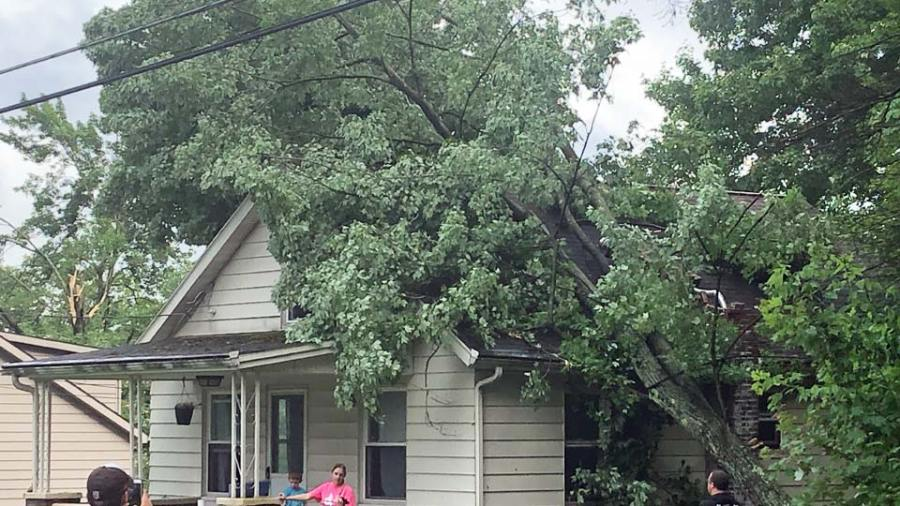 Severe weather damage in Brookfield on Wood Street.