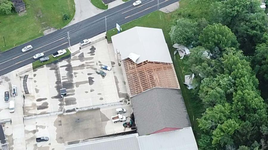 Aerial drone view of the aftermath in warren. The picture shows Mahoning Avenue in Warren, of the Jamestown plaza with roof damage.