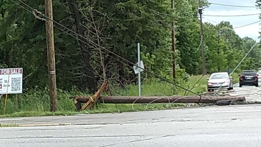 Severe weather damage at Anderson Anthony Road. Telephone pole and power lines down