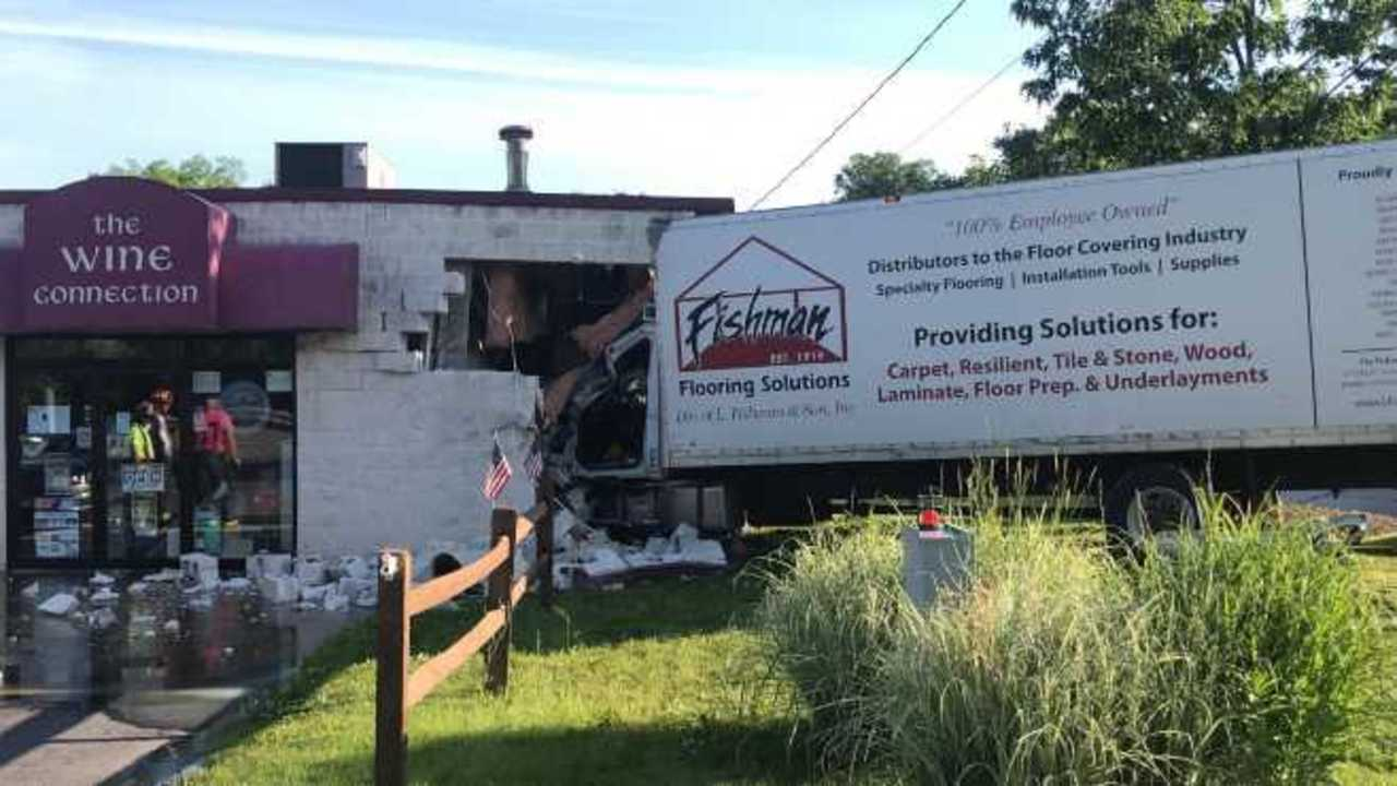 The front of a wine shop in Columbiana County sustained extensive damage after a large truck drove into the front of it.