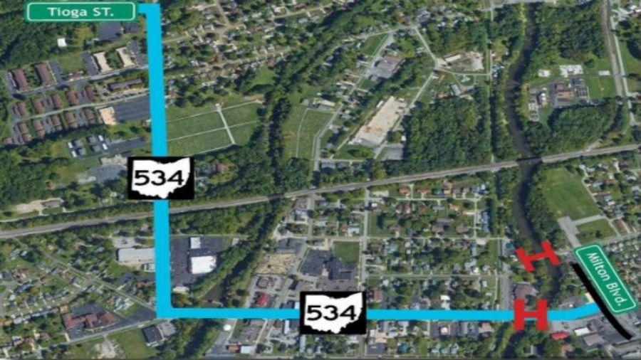 Route 534 bridge closure in Newton Falls