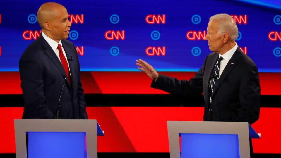 Cory Booker, Joe Biden in Democratic presidential debate