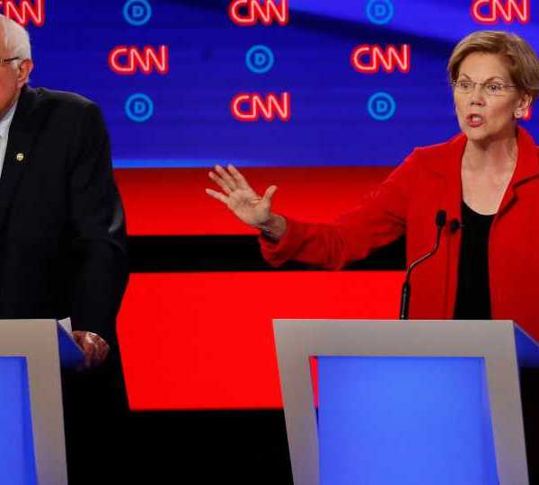CNN Democratic debate, Bernie Sanders, Elizabeth Warren