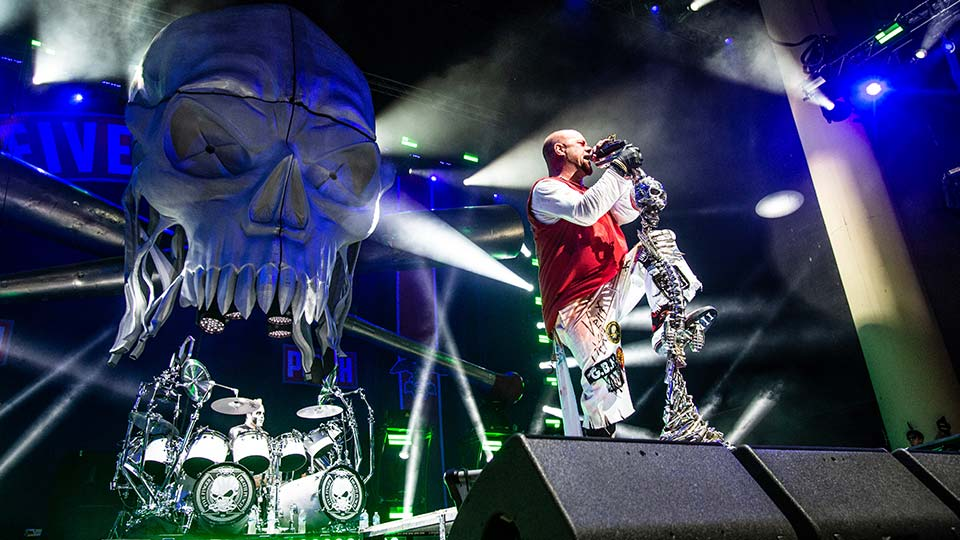 Ivan L. Moody of Five Finger Death Punch seen at the Ruoff Home Mortgage Music Center.