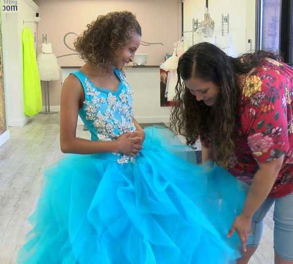 TLC Bridal in Boardman fit Liberty's Jessalyn Hartsfield, who has primordial dwarfism, with the perfect birthday dress