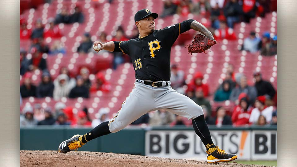 Pittsburgh Pirates relief pitcher Keone Kela throws in the ninth inning of a baseball game against the Cincinnati Reds.