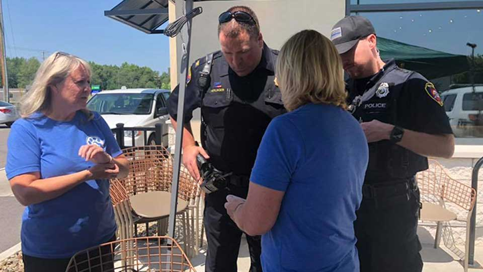 The Cortland Starbucks and Busters Brigade donated a microchip scanner to Bazetta police.