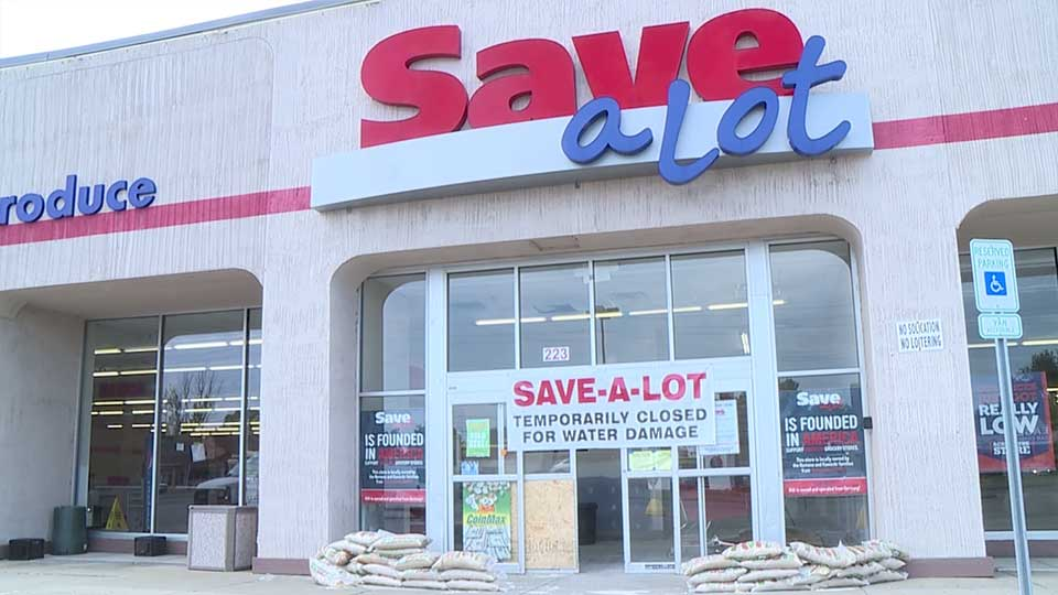 The Save-A-Lot grocery store in the Boardman Plaza continues to work toward reopening after severe flooding at the end of May.