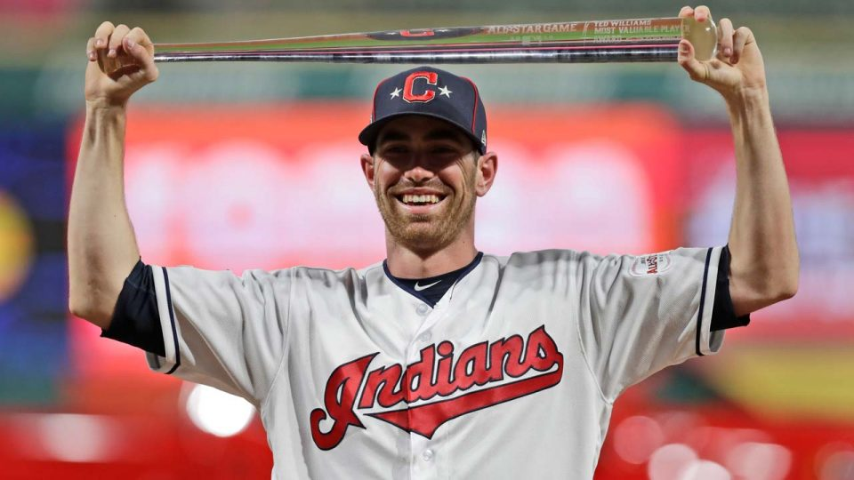 American League pitcher Shane Bieber, of the Cleveland Indians, holds the MVP trophy the MLB baseball All-Star Game.