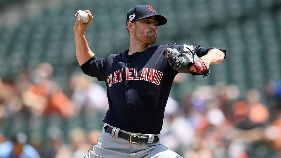Cleveland Indians starting pitcher Shane Bieber delivers a pitch during the first inning of a baseball game against the Baltimore Orioles.