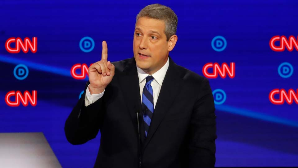 Rep. Tim Ryan, D-Ohio, speaks during the first of two Democratic presidential primary debates hosted by CNN.