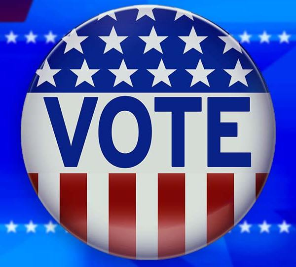 A voting button over a patriotic, star background.