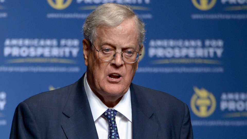 David Koch speaks in Orlando, Fla. Koch, major donor to conservative causes and educational groups, has died on Friday, Aug. 23, 2019 (AP Photo/Phelan M. Ebenhack)