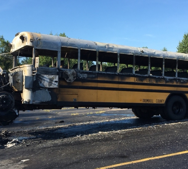 LaBrae bus burnt