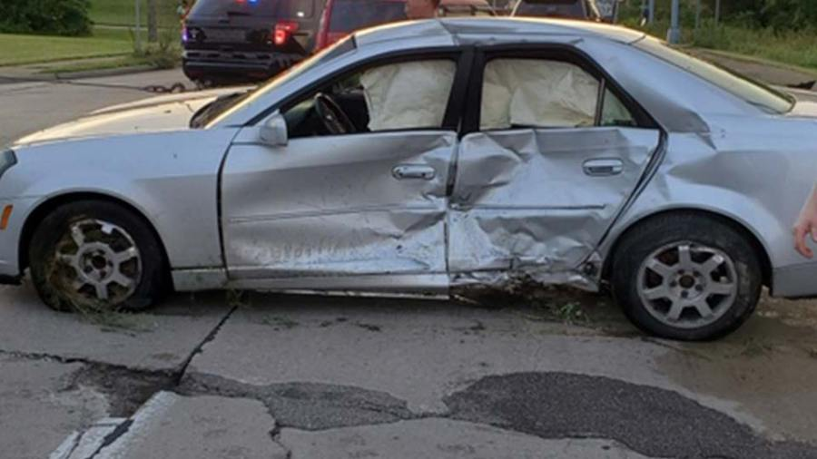 A silver car that was hit during a collision in Struthers, Ohio.