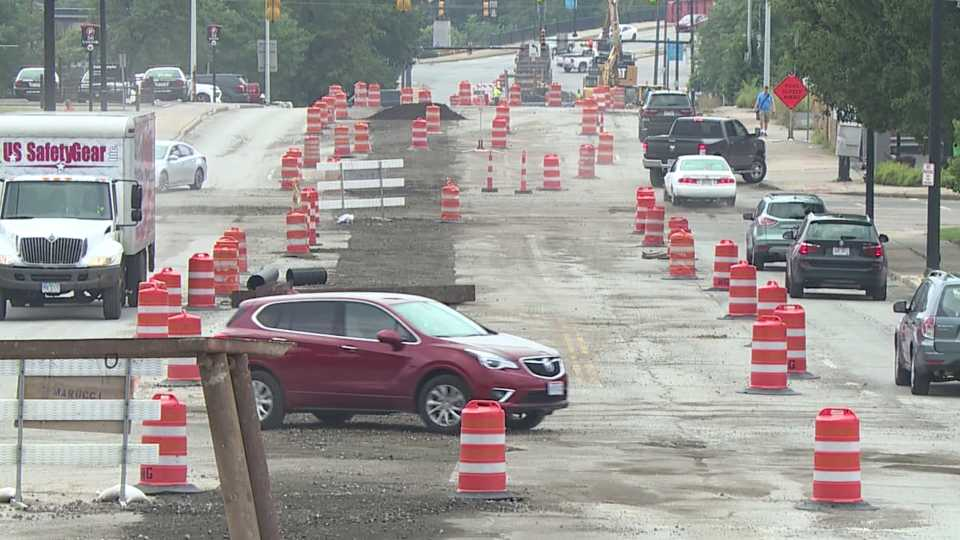 Road work on Fifth Avenue near Youngstown State's campus