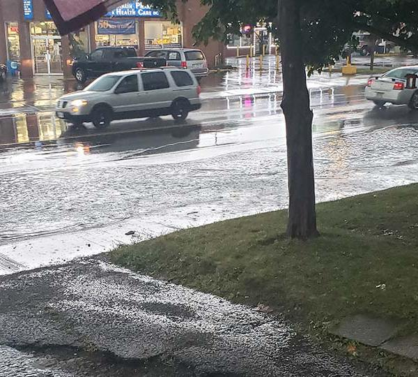 Flooded street in Warren, Ohio from Stephanie.