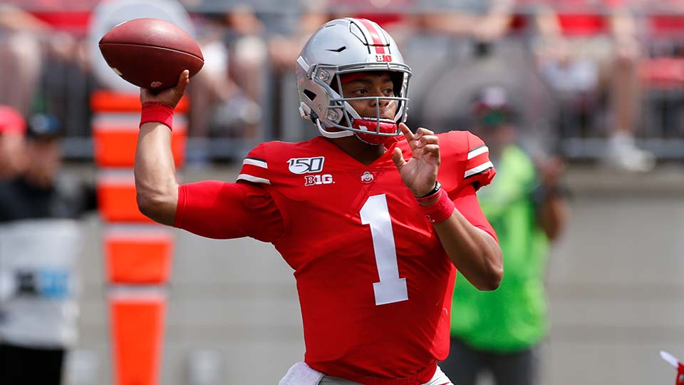 Justin Fields, Ohio State University Buckeyes Quarterback vs Florida Atlantic.