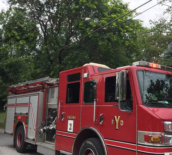 The fire department was called out to a neighborhood in Youngstown, where branches came down on a power line.