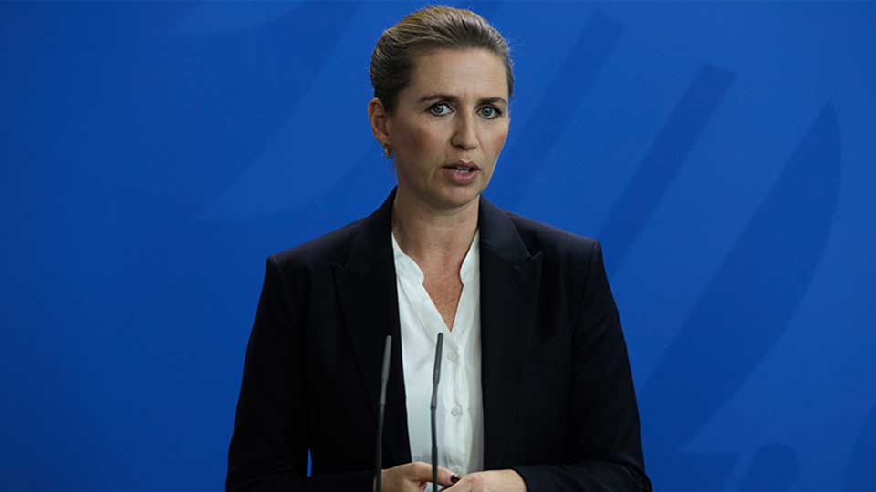 Danish Prime Minister Mette Frederiksen briefs the media during a news conference with German Chancellor Angela Merkel after a meeting at the chancellery in Berlin, Thursday, July 11, 2019.