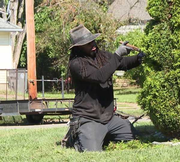 Michael Gibson teaching topiary at Youngstown's Chaney High School