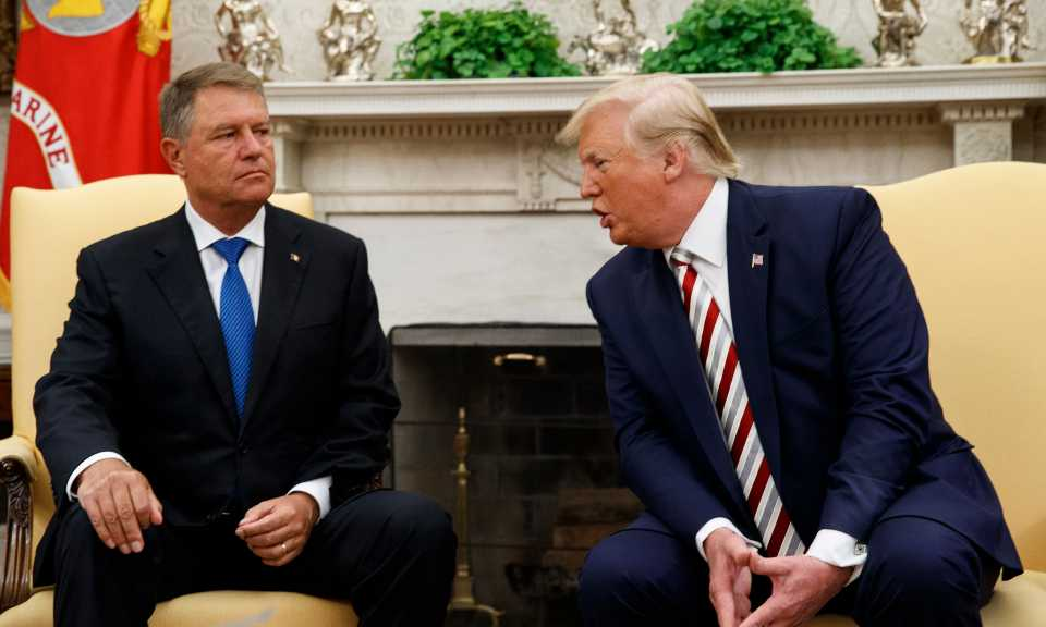 President Donald Trump meets with Romanian President Klaus Iohannis