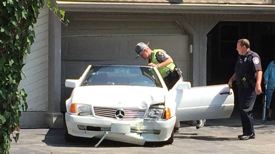 A vehicle went off the road, hitting a house in Liberty Township.