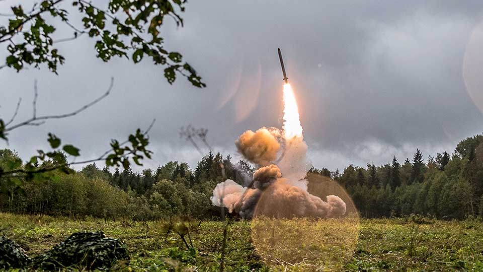 FILE - This undated file photo provided Tuesday, Sept. 19, 2017, by Russian Defense Ministry official web site shows a Russian Iskander-K missile launched during a military exercise at a training ground at the Luzhsky Range, near St. Petersburg, Russia. A landmark arms control treaty that President Ronald Reagan and Soviet leader Mikhail Gorbachev signed three decades ago is dead. The U.S. and Russia both walked away from the deal on Friday, Aug. 2, 2019.