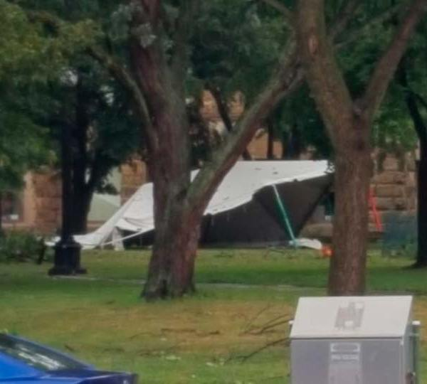Tent down at Courthouse Square in Warren, Ohio from Shelley.