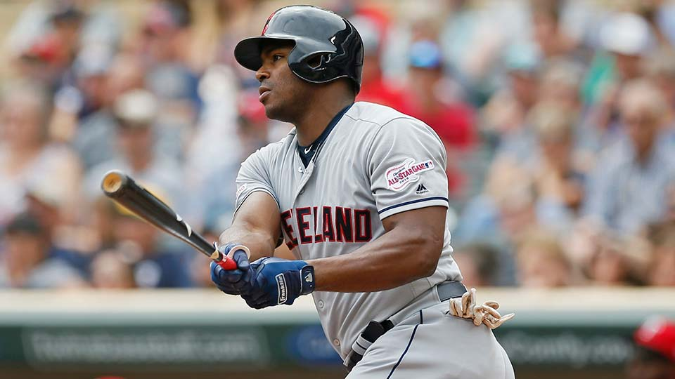Cleveland Indians' Yasiel Puig hits an RBI double off Minnesota Twins pitcher Jose Berrios.
