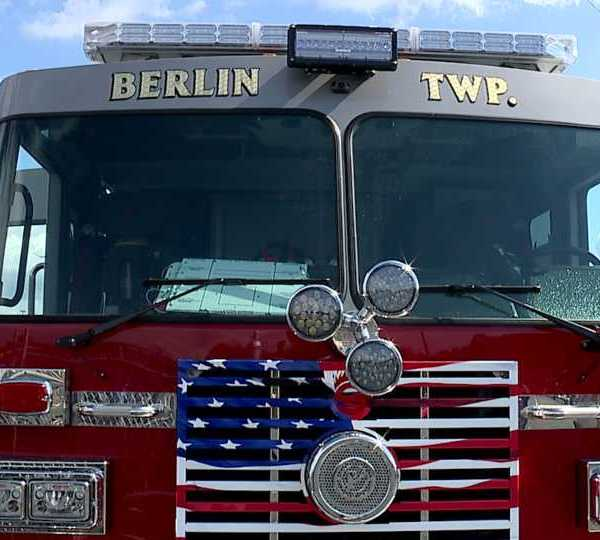 Berlin Township fire department truck at barbecue fundraiser.