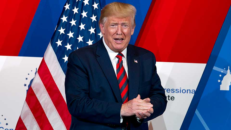 President Donald Trump speaks at the 2019 House Republican Conference Member Retreat Dinner in Baltimore, Thursday, Sept. 12, 2019.