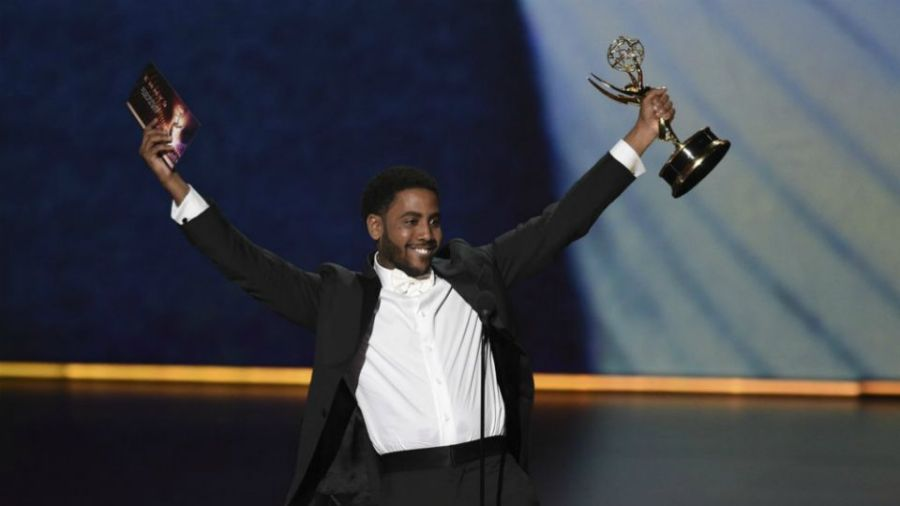 """Jharrel Jerome accepts the award for outstanding lead actor in a limited series or movie for """"When They See Us"""" at the 71st Primetime Emmy Awards in Los Angeles, Ca."""