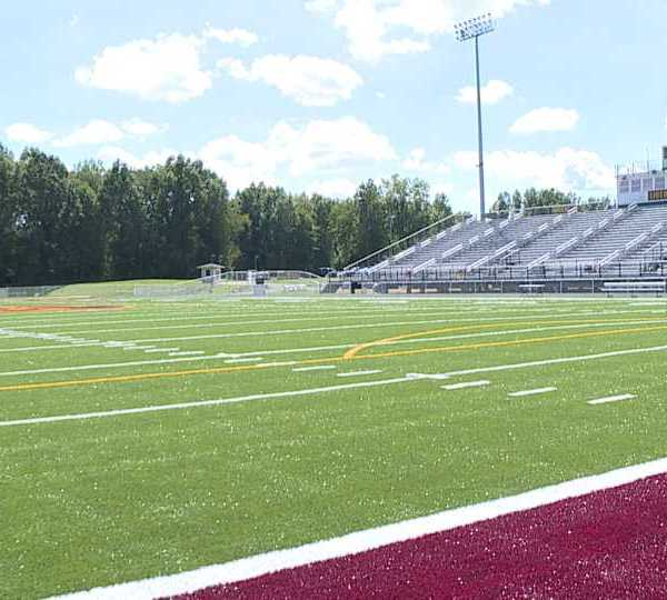 New turf at Liberty High School in Liberty, Ohio.
