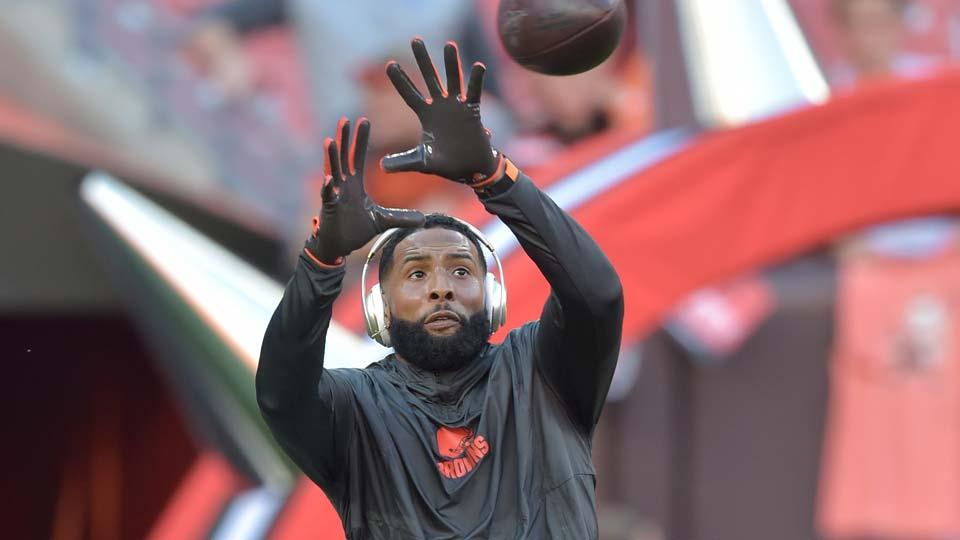 Cleveland Browns wide receiver Odell Beckham Jr. warms up before an NFL preseason football game.